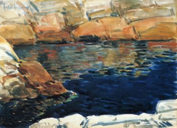 Looking into Beryl Pool | Frederick Childe Hassam | oil painting