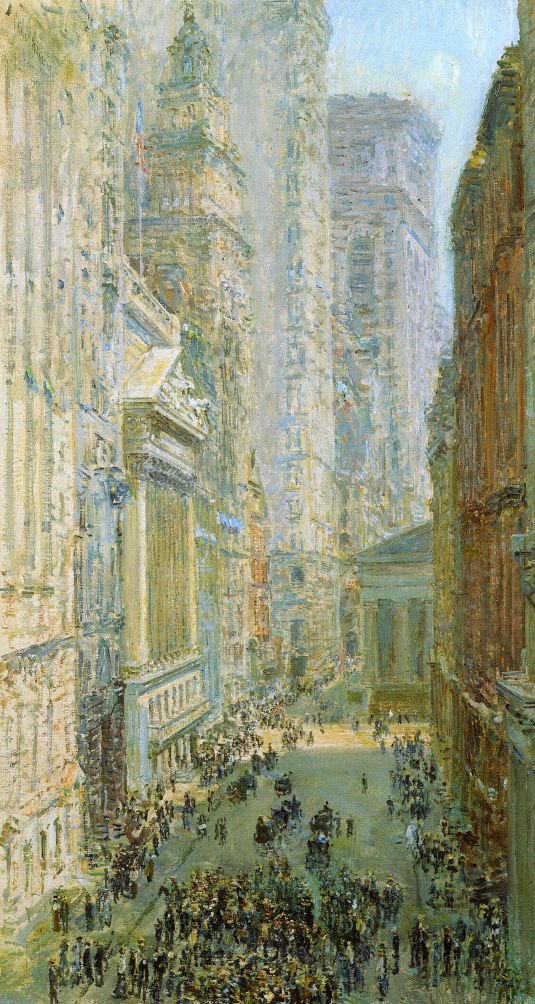 Lower Manhattan (also known as Broad and Wall Streets) | Frederick Childe Hassam | oil painting