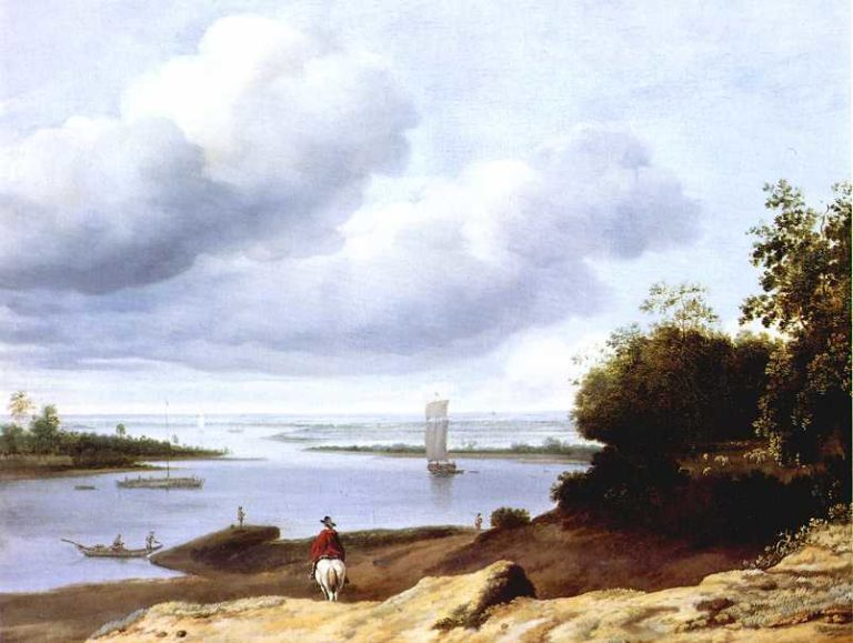 Extensive River View with a Horseman | Anthonie van Borssom | oil painting