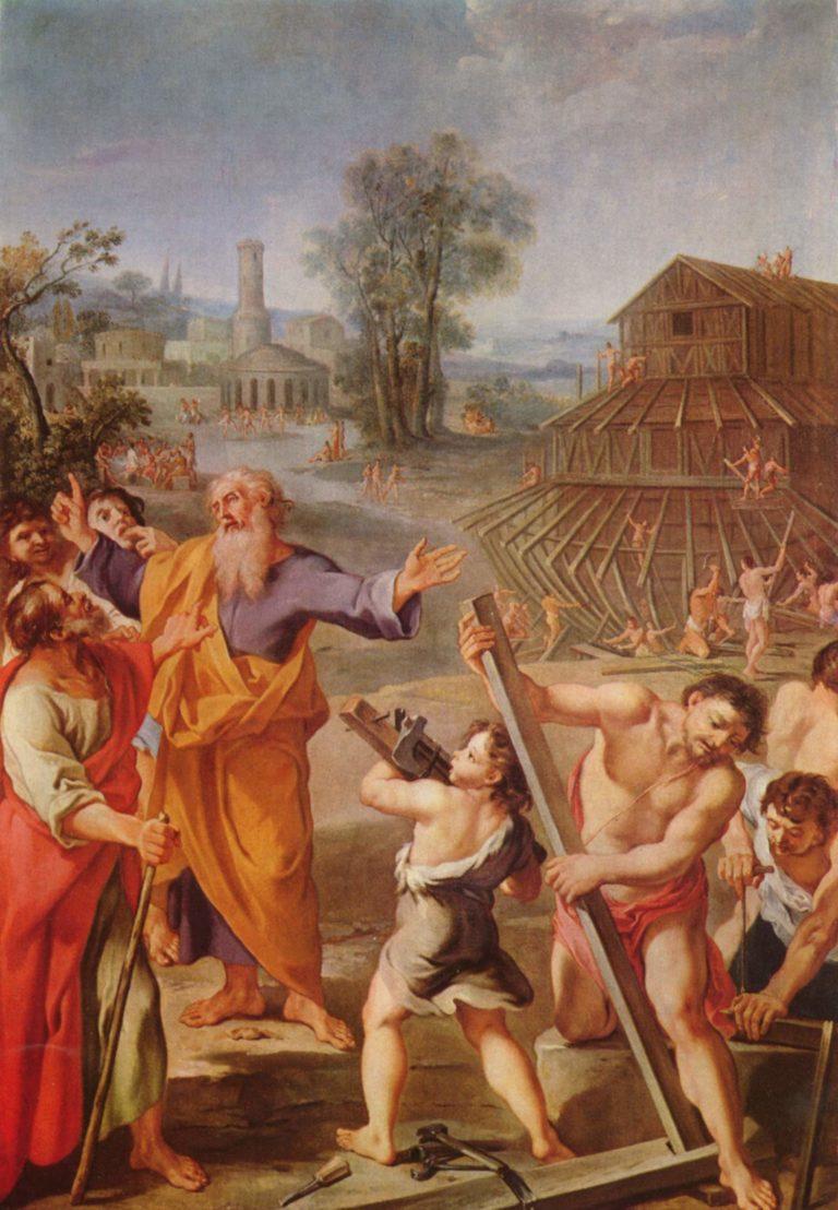 Der Bau der Arche Noah | Franzosischer Meister um 1675 | oil painting