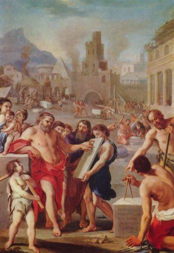 Kain baut die Stadt Enoch | Franzosischer Meister um 1675 | oil painting