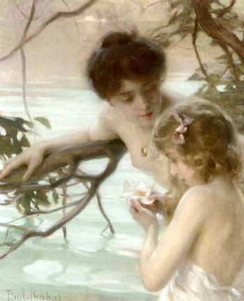 Mother and child bathing | Paul Emile Chabas | oil painting