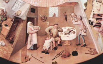 Tisch mit Szenen zu den sieben Tods?nden und den letzten vier Dingen