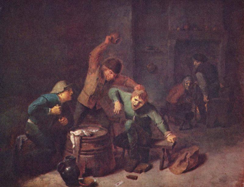 Bauernrauferei beim Kartenspiel   Brouwer