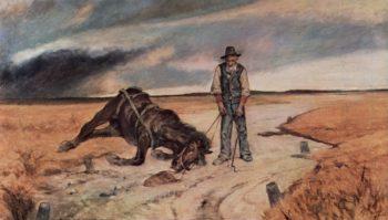 Bauer mit zusammengebrochenem Pferd   Giovanni Fattori   oil painting