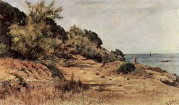 Bewaldeter Strand   Giovanni Fattori   oil painting