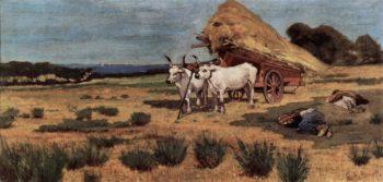 Pause in Maremma mit Bauern und Ochsengespann | Giovanni Fattori | oil painting
