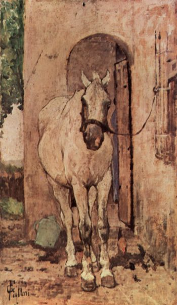 Wei?es Pferd vor einer T?r | Giovanni Fattori | oil painting