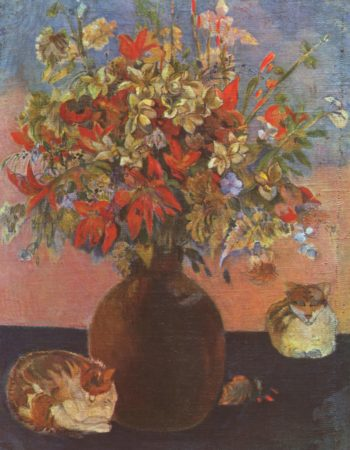 Blumen und Katzen | Paul Gauguin | oil painting