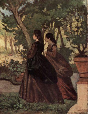 Zwei Damen im Garten von Castiglioncello | Giovanni Fattori | oil painting