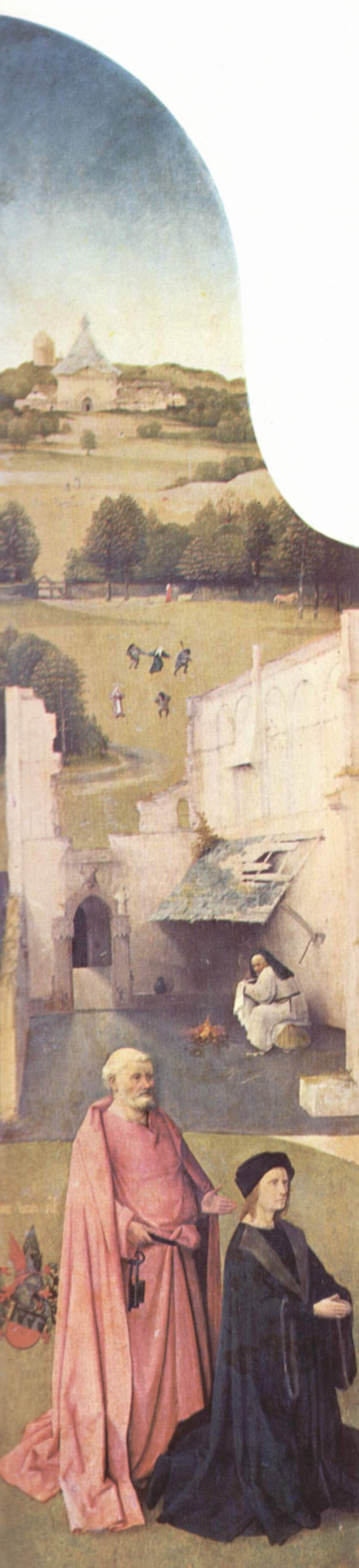 Hl. Petrus und kniender Stifter. English Title - Saint Peter and donor. Nederlands: De H. Petrus met stichter. | Hieronymus Bosch | oil painting