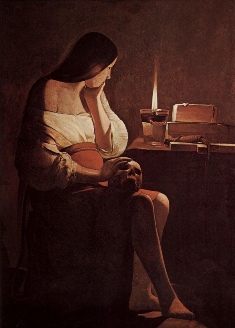 B??ende Maria Magdalena (Magdalena Terf) | Georges de La Tour | oil painting