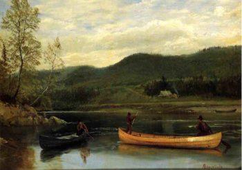 Men in Two Canoes   Albert Bierstadt   oil painting