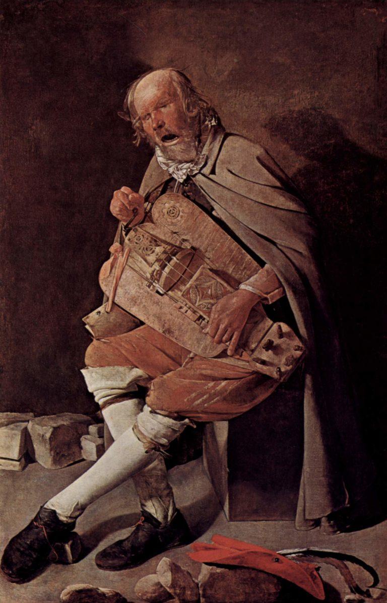 Ghironda-Spieler (Drehleier)   Georges de La Tour   oil painting