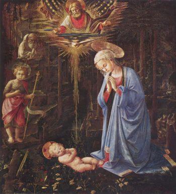 Anbetung des Kindes und der Hl. Bernhard | Lippi