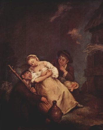 Die schlafende B?uerin | Pietro Longhi | oil painting