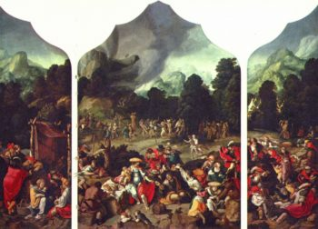 Triptych with the Adoration of the Golden Calf. Alternate title(s): Triptych with the dance around the golden calf. | Lucas van Leyden | oil painting