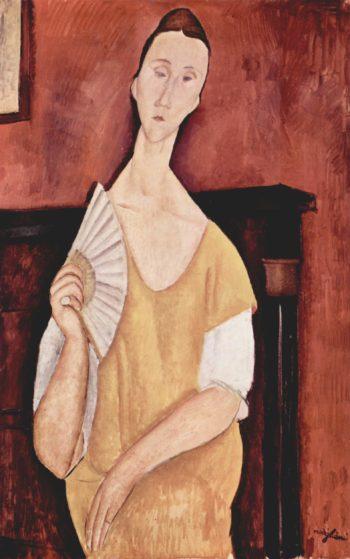 Portr?t der Lunia Czechowska mit F?cher | Amadeo Modigliani | oil painting