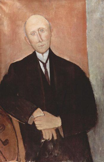 Sitzender Mann vor orangem Hintergrund | Amadeo Modigliani | oil painting