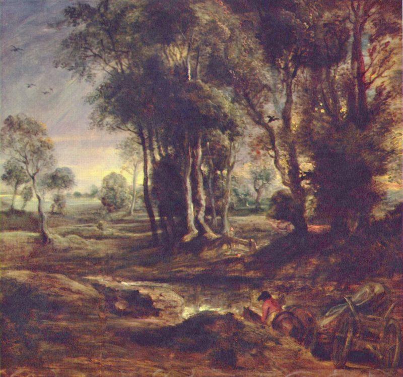 Abendlandschaft. Nederlands: Avondlandschap met wagen.   Peter Paul Rubens   oil painting