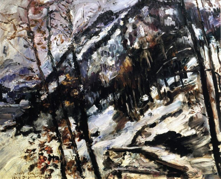 The Herzogstand on Walchensee in the Snow | Lovis Corinth | oil painting