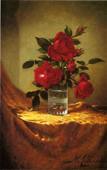 A Glass of Roses on Gold Clothy | Martin Johnson Heade | oil painting