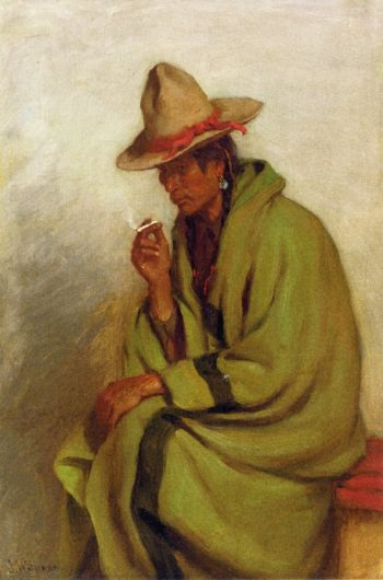 A Bad Man Strikes His Enemy Pretty Crow Indian Montana | Joseph Henry Sharp | oil painting