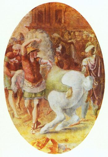 Alexander z?hmt den Bukephalos