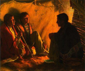 Chiefs Council | Joseph Henry Sharp | oil painting