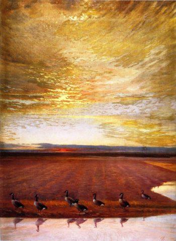 Honkers at Sunrise | Joseph Henry Sharp | oil painting