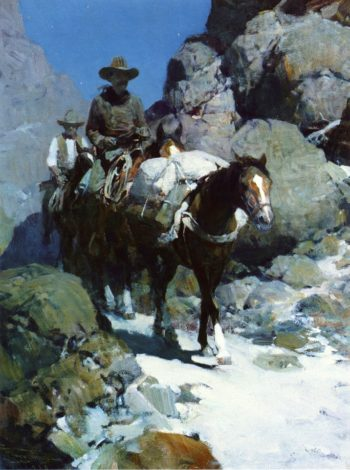 Two Cowboys through the Canyon Pass at Night | Joseph Henry Sharp | oil painting