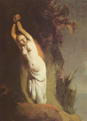 Andromeda. Alternate titles: Andromeda an den Felsen angekettet. Nederlands: Andromeda aan de rots geketend. | Rembrandt Harmensz. van Rijn | oil painting