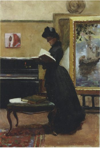 A visitor in the studio | Sir John Lavery | oil painting