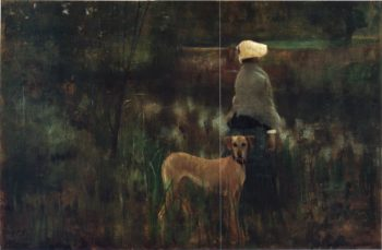 A woman and her dog at Grez sur Loing | Sir John Lavery | oil painting