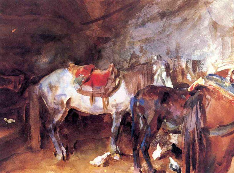 Arab Stable   John Singer Sargent   oil painting