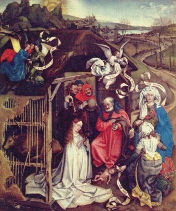 Christi Geburt. Nederlands: Geboorte van Christus. Alternate title: Nederlands: De aanbidding van de herders in aanwezigheid van de vroedvrouwen. | Robert Campin | oil painting