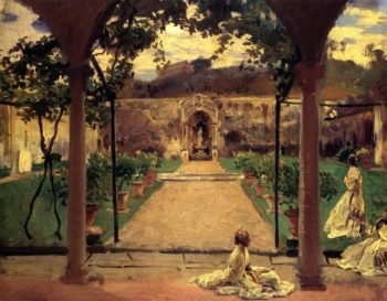 At Torre Galli Ladies in a Garden | John Singer Sargent | oil painting