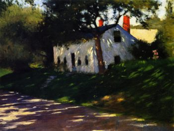 Roadside Cottage Medfield Mass   Dennis Miller Bunker   oil painting