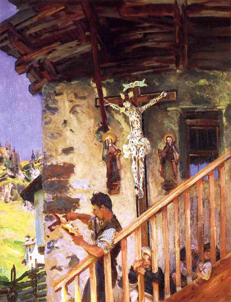 A Tyrolese Crucifix   John Singer Sargent   oil painting