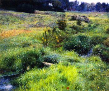 The Brook at Medfield   Dennis Miller Bunker   oil painting