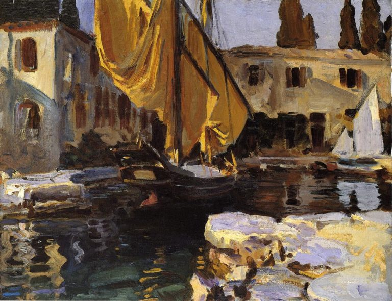 Boat with The Golden Sail San Vigilio | John Singer Sargent | oil painting
