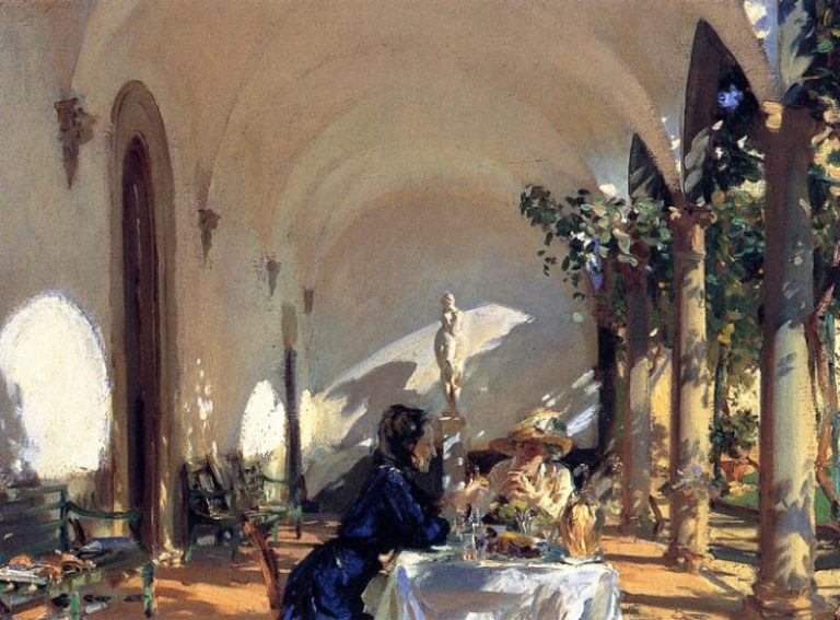 Breakfast in the Loggia | John Singer Sargent | oil painting