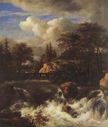 Ein Wasserfall in felsiger Landschaft | Ruisdael
