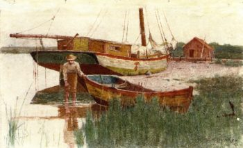 Boy with Rowboat   Dennis Miller Bunker   oil painting