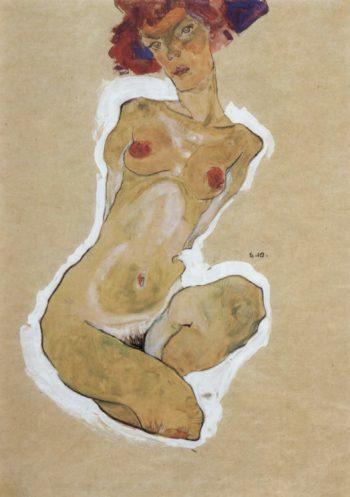 Hockender weiblicher Akt | Egon Schiele | oil painting