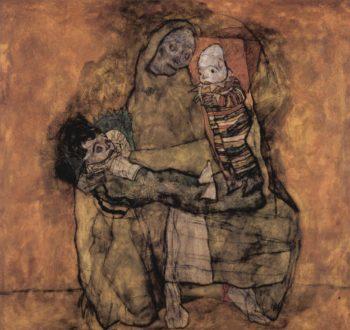Mutter mit zwei Kindern | Egon Schiele | oil painting