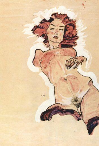 Weiblicher Akt Fran?ais: Nu f?minin | Egon Schiele | oil painting