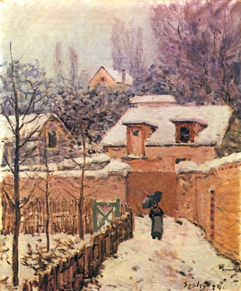 Garten im Louveciennes im Schnee   Alfred Sisley   oil painting