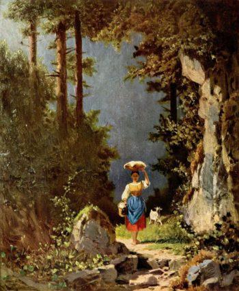 M?dchen mit Ziege | Carl Spitzweg | oil painting