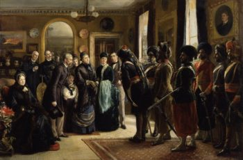 The Duke and Duchess of Teck receiving officers of the Indian Contingent 1882 | Sydney Prior Hall | oil painting